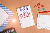 Handwriting Text Writing Help Others. Concept Meaning The Action Of Helping Someone To Do Something  poster