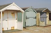 Beach Huts At Ferring. Sussex. England