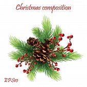 Christmas Decor, Holly Berry And Xmas Decorations. Winter Holiday Celebration. New Year And Festive  poster