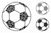 Football Ball Mosaic Of Uneven Items In Various Sizes And Color Tints, Based On Football Ball Icon.  poster