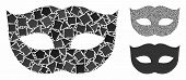 Privacy Mask Mosaic Of Raggy Parts In Different Sizes And Shades, Based On Privacy Mask Icon. Vector poster