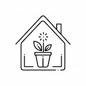 Black Line Icon For Indoor-plants Indoor Plants Potted Nature Gardening poster