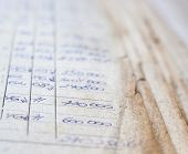 Old Paper Documents In The Archive. Bookkeeping (accountancy). Hand-written Calculations. poster