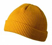 Docker Knitted Dark Yellow Hat Isolated On White Background. Fashionable Rapper Hat. Hat Fisherman F poster