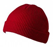 Docker Knitted Dark Red Hat Isolated On White Background. Fashionable Rapper Hat. Hat Fisherman Fron poster