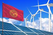 Kyrgyzstan Solar And Wind Energy, Renewable Energy Concept With Windmills - Renewable Energy Against poster