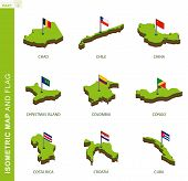 Set Of 9 Isometric Map And Flag, 3d Vector Isometric Shape Of Chad, Chile, China, Christmas Island,  poster