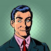 Pop Art Man Mouth Locked Censorship Secret. Pop Art Retro Vector Illustration Drawing poster