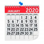 January 2020 Monthly Wall Calendar, 3d Rendering Isolated On White Background poster