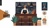 Burger House - Small Business Graphics - Seller At The Counter -modern Flat Vector Concept Illustrat poster