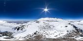 Spherical Panorama Of The Pamir Mountain. Slope Of Lenin Peak To An Altitude Of 7100 Meters. Spheric poster