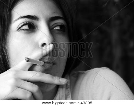 Black & White Smoking Woman