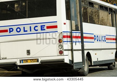 Police bus on the street