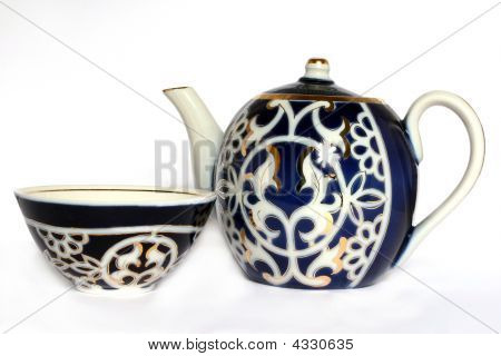 Teapot And Drinking Bowl For Green Tea