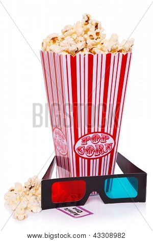 Box of Popcorn, 3D Glasses and an Admit One ticket isolated on a white background.