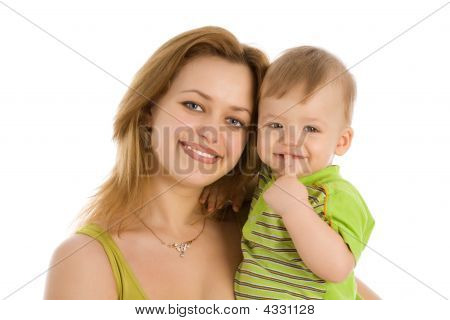 Smiling Women With Her Little Child