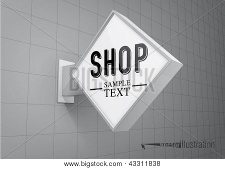Blank, rhombus shop sign hanging on a wall