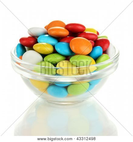 Colorful candies in glass bowl isolated on white