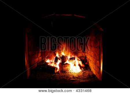 Close Up Of Fireplace Over Black