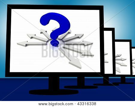 Question Mark On Monitors Showing Enquiries