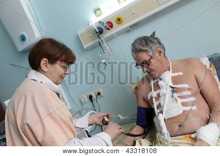 Nurse Setting Sphygmometer