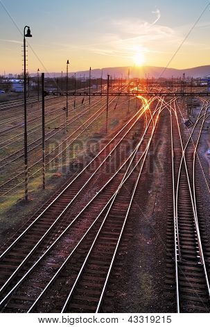Railway At Sunet