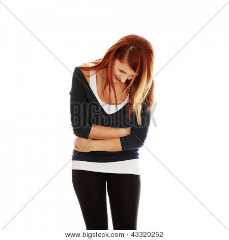 Woman with stomach issues,isolated on white