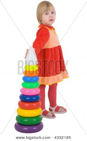 Girl In The Red Dress With Toy