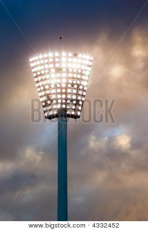 Light Pylon At A Sport Stadium At Sunset