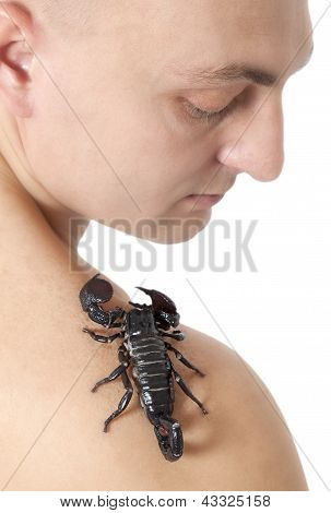 Young Man With Scorpion On His Shoulder
