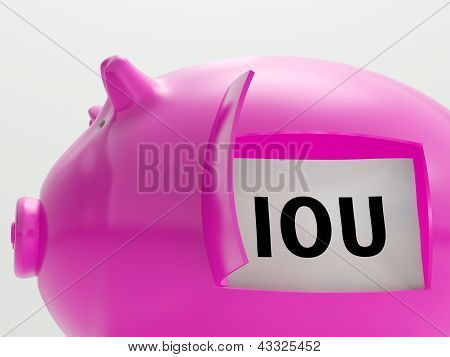 Iou In Piggy Shows Broke And Bankrupt