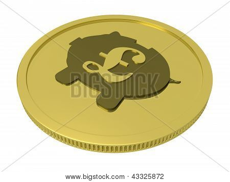 Pound Piggy Coin Shows Britain Currency