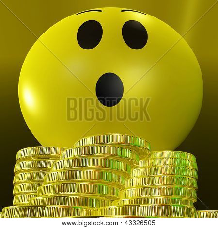 Surprised Smiley With Coins Showing Sudden Success