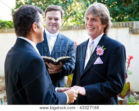 Gay couple exchanging rings and vows at their wedding.