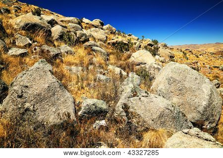 Rocks carried by the 1970 aluvion disaster on Cohup Valley, Cordiliera Blanca, Peru, South America