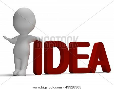 Palavra da idéia e 3D homem mostrando o pensamento e invenção