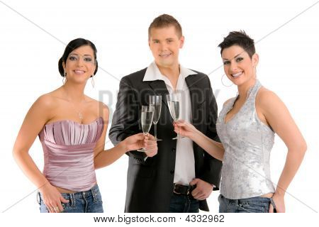 Young People Drinking Champagne