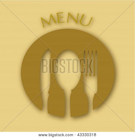 late, white, colMenu Cover with fork spoon and a knife