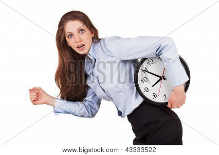 Woman In A Hurry With The Clock Under His Arm