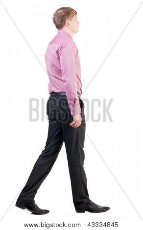 back view of walking  business man.  going young guy in red shirt. office worker proudly goes ahead. Isolated over white background. Rear view people collection.  backside view of person.