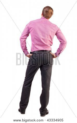 back view of Business man  looks ahead. Young guy in pink shirt watching. Rear view people collection.  backside view of person.  Isolated over white background.