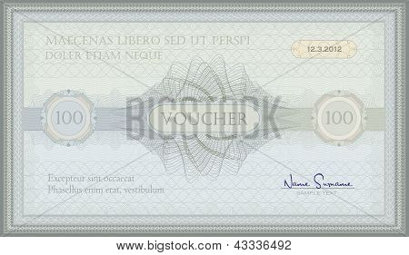 vector voucher green blue guilloche certificate