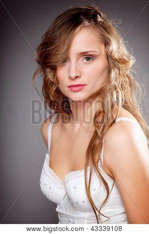 Portrait Of Beautiful Woman Long Hair