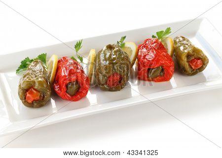 biber dolmasi, turkish food, stuffed peppers with rice