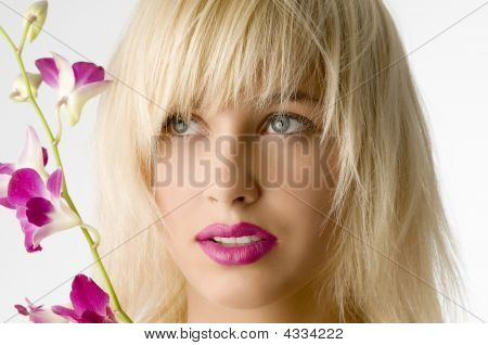 Pink Lips And Flower