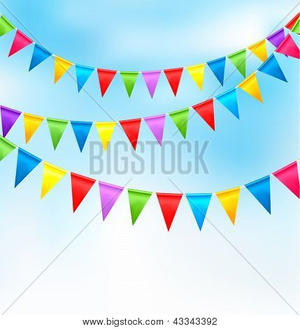 Holiday background with birthday colorful flags. Vector