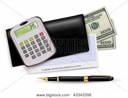 Black checkbook with check, calculator and dollars