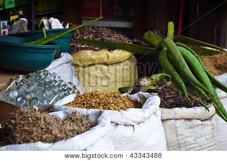 Stall At A Spice Market In Asia