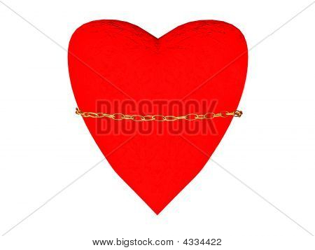 Image Of Red Heart Held Down By A Gold Circuit.