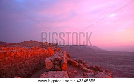 Sunrise On Masada Fortress